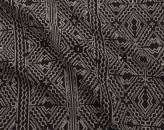 Black Mudcloth Fabric - African Mud Cloth Natural On Black Tribal Print By Jenlats - Mudcloth Cotton Fabric By The Yard With Spoonflower
