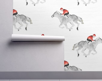 Horse Wallpaper   The Jockey By Vintage Style   Off To The Races Riding  Custom Printed Removable Self Adhesive Wallpaper Roll By Spoonflower