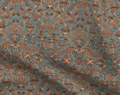 Persian Fabric - Heriz Fans Blue By Amyvail - Persian Geometric Blue Gold Coral Rug Design Cotton Fabric By The Yard With Spoonflower