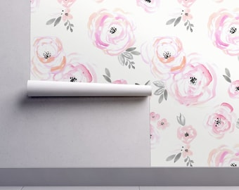 Flower wallpaper etsy flower wallpaper blushing roses small by crystal walen pink white custom printed removable self adhesive wallpaper roll by spoonflower mightylinksfo