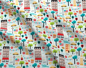 New york city fabric etsy new york fabric new york city icons illustration manhattan brooklyn by littlesmilemakers cotton fabric by the yard with spoonflower gumiabroncs Images
