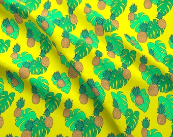 e46a9b55 Yellow Beach Pineapple Fabric - Pineapple And Monstera Leaves On Yellow  Hawaiian By Crowlands - Cotton Fabric by the Yard With Spoonflower