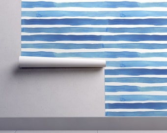 5f5e952c9 Blue Striped Wallpaper - Ella Stripes By Dawn Leblanc - Watercolor Custom  Printed Removable Self Adhesive Wallpaper Roll by Spoonflower