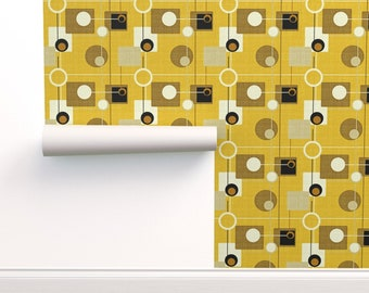 Removable Water-Activated Wallpaper Atomic Mid Century Modern Mod Retro 1950S