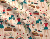 On A Diet Fabric - Dieters Resolutions On Cream By Kociara - Sweets Diet Keep Fit Exercise Food Cotton Fabric By The Yard With Spoonflower