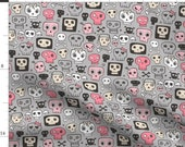 Skull Fabric - Skulls In Pink On Grey By Caja Design - Skull Cotton Fabric By The Yard With Spoonflower
