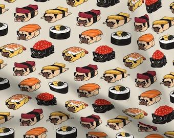 100/% Cotton Fabric Timeless Treasures Sushi Fish Japanese Food Snack