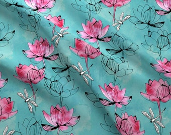 Lotus Flower Fabric Etsy