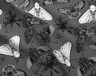 Black And White Butterfly Wings Geometric Fabric Printed by Spoonflower BTY