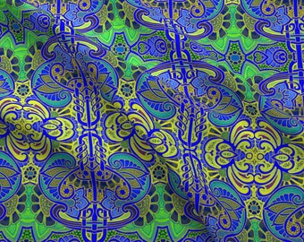 53415d9b1a1 Exotic Decor Fabric - Give That Peacock Reason To Strut By Edsel2084- Blue  Green Ornate Abstract Cotton Fabric By The Yard With Spoonflower