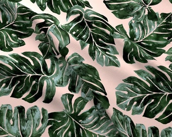 cd92a6e1 Monstera Fabric - Jungle Monstera Leaves Deep Green Blush By Crystal Walen  Tropical Watercolor - Cotton Fabric By The Yard With Spoonflower