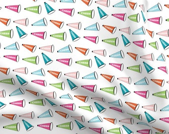 Cheer Cheer Cheerleader Football Megaphone Fabric Printed by Spoonflower BTY