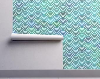 Mermaid Tail Wallpaper - Mermaid Tail Scales Waves Blue By Ekaterinap - Custom Printed Removable Self Adhesive Wallpaper Roll by Spoonflower