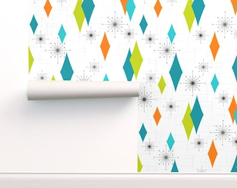 Removable Water-Activated Wallpaper 1950S Mid Century Modern Mod Atomic Retro