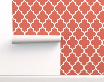 Fleur In Bright Coral By Willowlanetextiles Custom Printed Removable Self Adhesive Wallpaper Roll by Spoonflower Quatrefoil Wallpaper