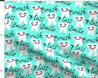 Tooth Teal Teeth Dentist Dental Martial Arts Spoonflower Fabric by the Yard