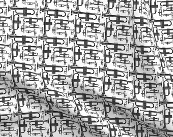 Fabric Music Notes Black Tossed on White Cotton by the 1//4 yd