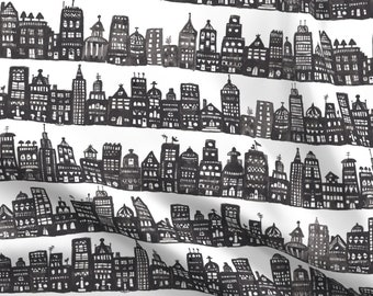NYC NEW YORK CITY BUILDINGS LIGHTS GREY COTTON FABRIC FQ