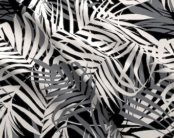 000d637526b1 Black And White Tropical Leaves Fabric - Tropic Nights By C Manning - Palm  Fronds Vacations Print Cotton Fabric By The Yard With Spoonflower