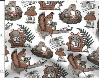 Sold by the half yard. 62 wide Lightweight Peacegoods Cotton Knit Squirrels Fabric 79413 Nuts