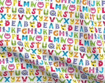 Typewriter Letters Alphabet Abc Kids Children Fabric Printed by Spoonflower BTY