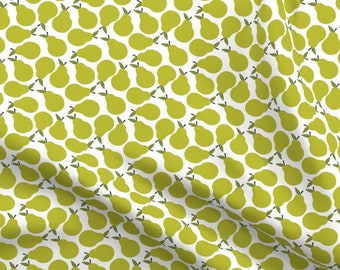 *BTY* Large Green and Yellow Pears on Yellow Fabric cotton material fruit