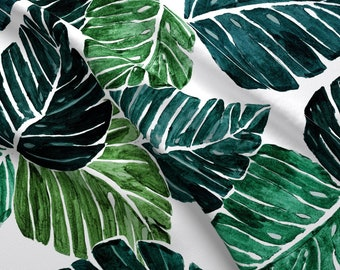 23ce22d8 Monstera Leaves Fabric - Monstera Leaves 90 Degrees By Crystal Walen -  Tropical Watercolor Leaves Cotton Fabric By The Yard With Spoonflower