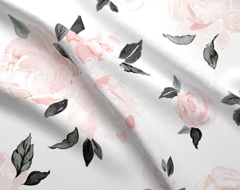 edc69bffb3 Pink And Black Floral Fabric -Vintage Blush Floral-Bw By Crystal Walen-  Watercolor Floral Flowers Cotton Fabric By The Yard With Spoonflower