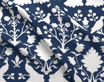 Stoffe fabrics Baumwolle Jardinere Blumen Vögel vintage