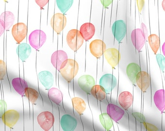 Kids Birthday Rainbow Cake And Balloons Fabric Printed by Spoonflower BTY