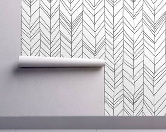 Chevron Wallpaper Featherland White/Navy Large by Leanne | Etsy