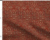 Persian Rug Fabric - Heriz Fans Red By Amyvail - Persian Rug Traditional Ornate Patterned Heriz Cotton Fabric By The Yard With Spoonflower