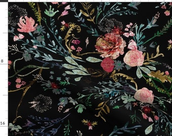 Black Dressmaking Fabric Home Decor Fabric 42 Inch Cotton Fabric By The Yard ZBC9324C Home Accessories Floral Print