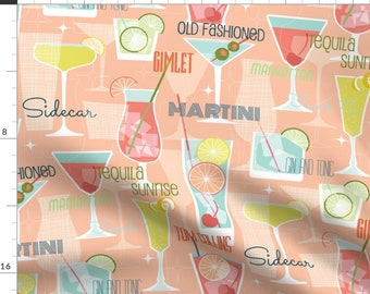 Fabric Clothworks Picholine Martini Party Retro 50s 60s Cocktails Drinks Olives on black