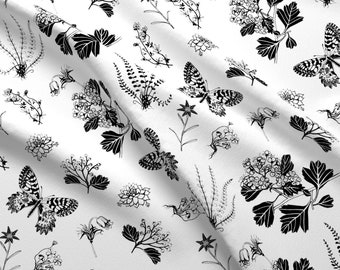 Greyscale Butterflies Plants Fabric - Botanica By Caroline Krzykowiak - Plants Black And White Cotton Fabric By The Yard With Spoonflower