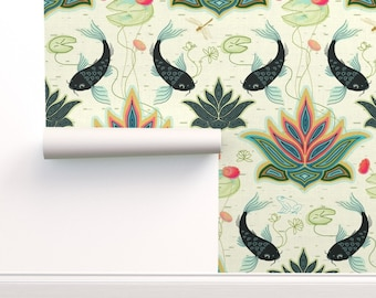Japanese Wallpaper Double Roll by Spoonflower Teal by designed/_by/_debby Koi Fish Wallpaper Japanese Water Garden