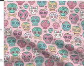 Sugar Skulls Fabric - Sugar Skulls On Pink By Caja Design - Sugar Skulls Candy Dead Of The Dead Cotton Fabric By The Yard With Spoonflower