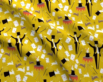 dc7607a40 Retro Magic Fabric - Retro Magic By Vinpauld - Yellow Retro Magician Cotton  Fabric By The Yard With Spoonflower