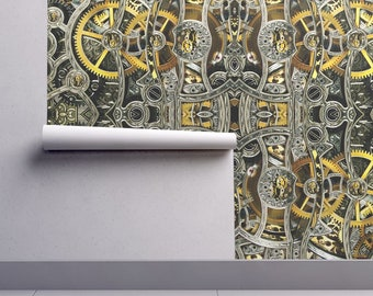 Clockwork Wallpaper - Clockworks By Whimzwhirled - Gear Mechanic Decor Custom Printed Removable Self Adhesive Wallpaper Roll by Spoonflower