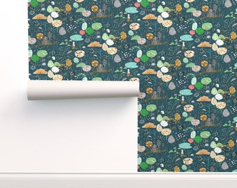 Rabbit Wallpaper Double Roll by Spoonflower midnight Linen Woodland Wallpaper Ambrosia Orchard by