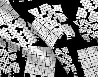 Crossword Fabric Etsy