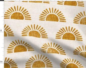 Block Print Sun Fabric - Sunshine By Littlearrowdecor - Mustard Yellow Beige Boho Rising Sun Cotton Fabric By The Yard With Spoonflower