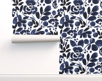 Floral Wallpaper - Navyfloral Pattern By Crystal Walen - Indigo Floral Custom Printed Removable Self Adhesive Wallpaper Roll by Spoonflower