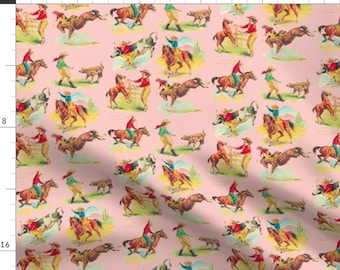 Pink Cowgirl Fabric - Cowgirl Cowboy Pink By Parisbebe Western Vintage Bronco Horse Retro - Cotton Fabric By The Yard With Spoonflower