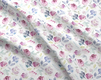 Floral Fabric - Watercolour Florals Vintage Faded Style By Sylviaoh - Watercolor Floral Cotton Fabric By The Yard With Spoonflower