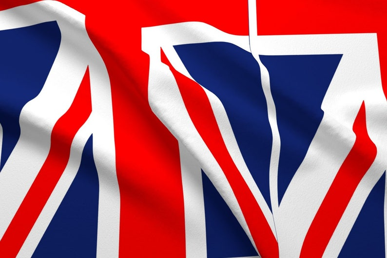 100/% Cotton Fabric Flag Great Britain Union Jack 6 Flags Per Panel UK