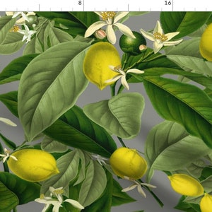 Citrus Fruit Cotton Sateen Pillow Sham Bedding by Spoonflower Lemons Pillow Sham Lemon Botanical Earl Grey  by peacoquettedesigns