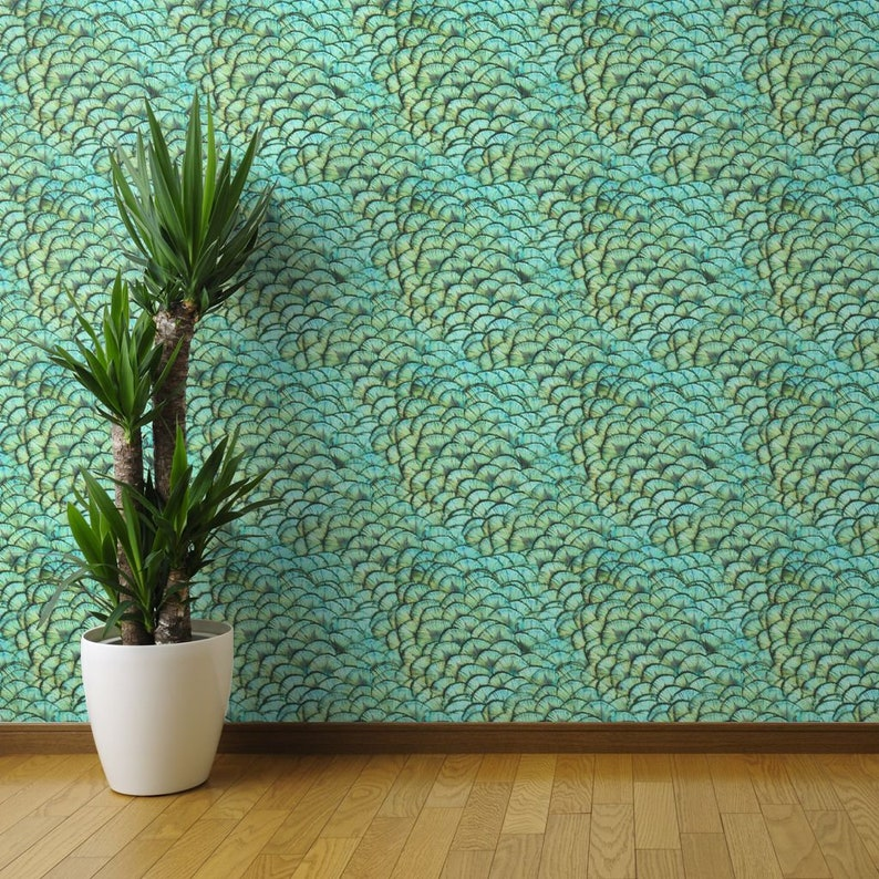 Iridescent Wallpapaer Peacock Custom Printed Removable Self