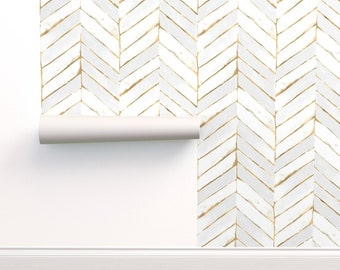 Chevron Wallpaper - Chevron Painted White + Gold - L By Crystal Walen - Custom Printed Removable Self Adhesive Wallpaper Roll by Spoonflower