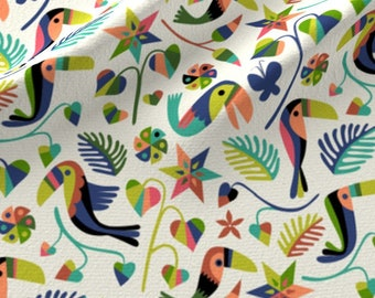 Toucan Fabric - Small Otomi Toucan By Chris Jorge Tropical Paradise Summer South American Bright- Cotton Fabric By The Yard With Spoonflower